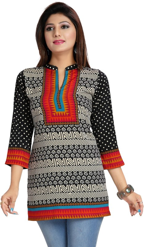 GMK Casual 3/4th Sleeve Printed Women's Multicolor Top Price in India