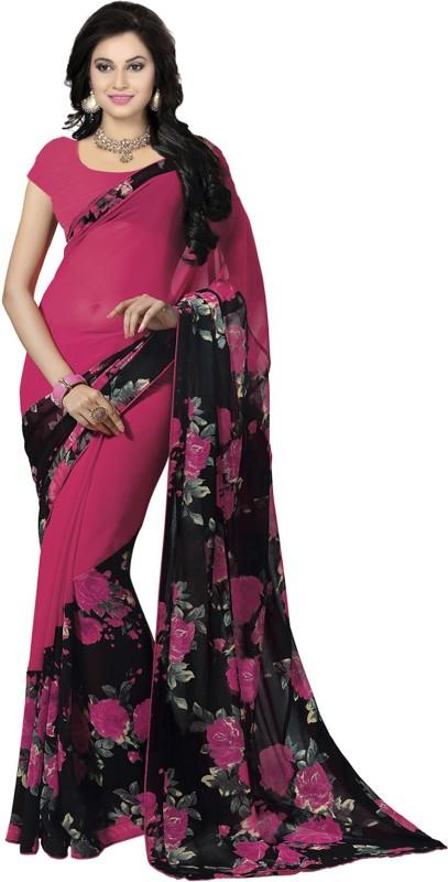 Ishin Printed Fashion Synthetic Georgette Sari(Pink) Price in India