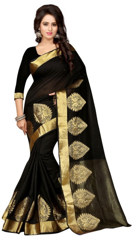 Style U Self Design Bollywood Polycotton Sari(Black) Price in India
