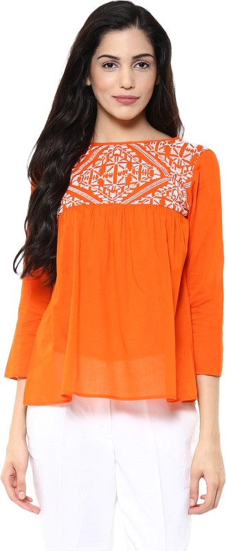 The Vanca Casual 3/4th Sleeve Solid Women's Orange Top Price in India