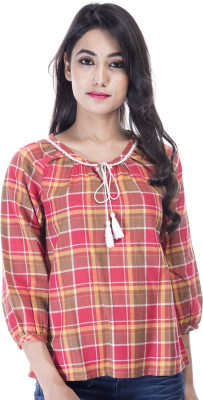 Amadore Casual 3/4th Sleeve Checkered Women's Multicolor Top Price in India