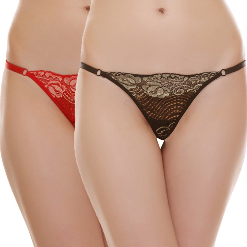 Urbaano Women's G-string Black, Red Panty(Pack of 2) Price in India