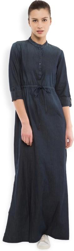 Tokyo Talkies Women's Maxi Dark Blue Dress Price in India