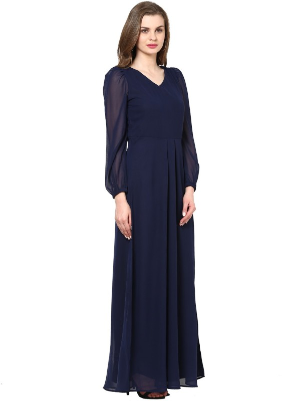 La Zoire Women's Maxi Dark Blue Dress Price in India