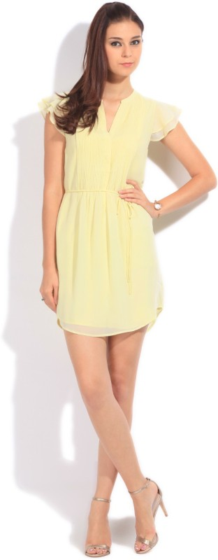 United Colors of Benetton Women's A-line Yellow Dress Price in India