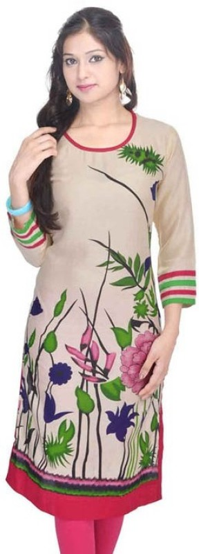 The Style Story Floral Print Women's Kurti(Beige) Price in India