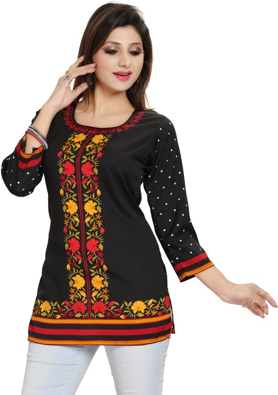 Meher Impex Casual Floral Print Women's Kurti(Black) Price in India