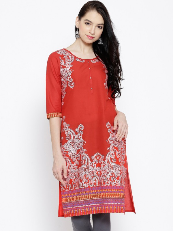 Aurelia Printed Women's Straight Kurta(Orange) Price in India