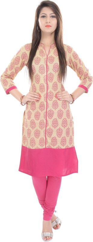 Gujari Casual Printed Women's Kurti(Beige, Pink) Price in India