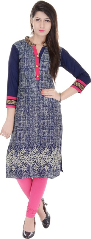 Gujari Casual Printed Women's Kurti(Blue) Price in India