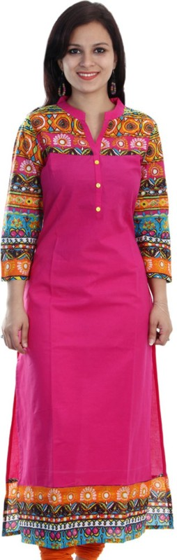 Mokshi Casual Solid Women's Kurti(Pink) Price in India