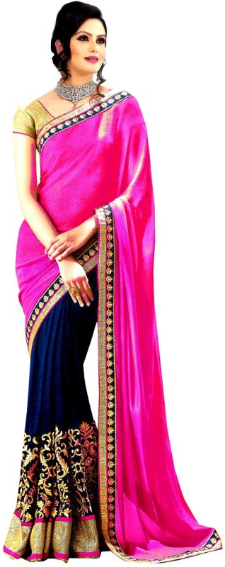 Winza Designer Embellished, Embroidered, Paisley, Printed, Self Design, Solid Bollywood Georgette Saree(Pink, Dark Blue, Gold, Multicolor) Price in India