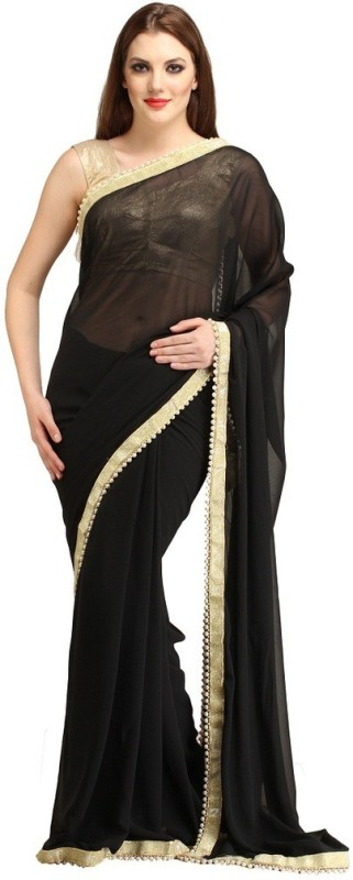 Lime Embellished Fashion Georgette Saree(Black) Price in India