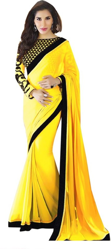 Fabaron Enterprise Plain Bollywood Georgette Saree(Yellow) Price in India