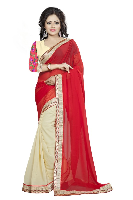 Aai Shree Khodiyar Art Plain Bollywood Georgette Saree(Multicolor) Price in India
