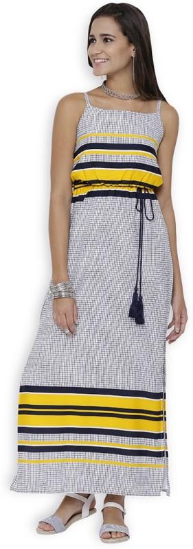 Tokyo Talkies Women's Maxi White, Dark Blue, Yellow Dress Price in India