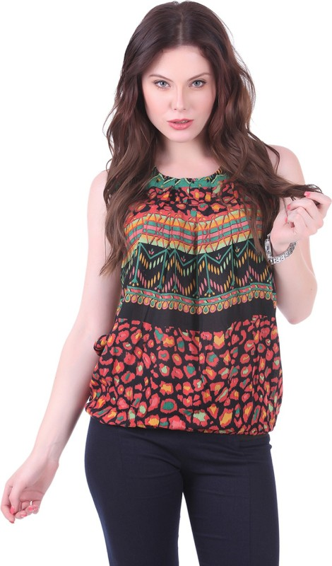 Crease & Clips Casual Sleeveless Printed Women's Orange, Multicolor Top Price in India