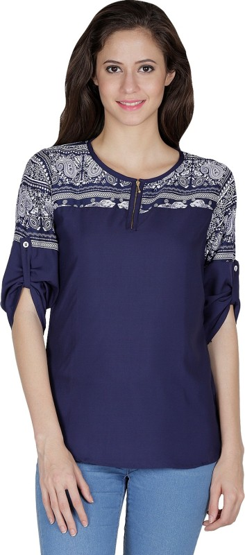 Mayra Party 3/4th Sleeve Printed Women's Blue Top Price in India
