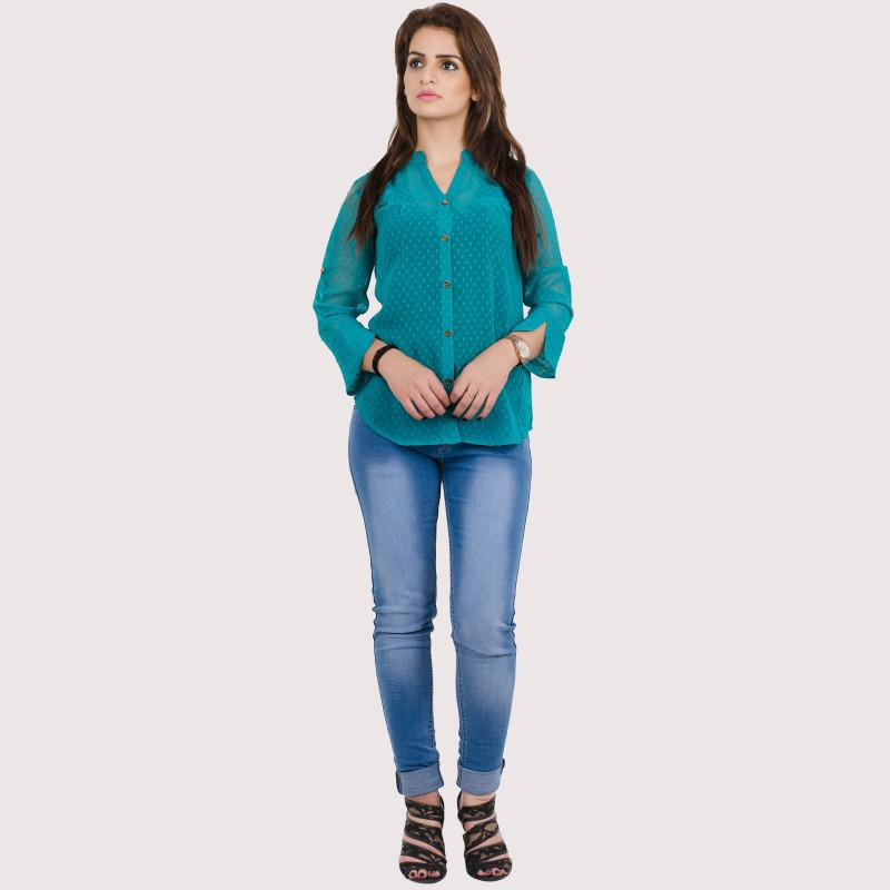 Crease & Clips Casual Full Sleeve Solid Women's Green Top Price in India