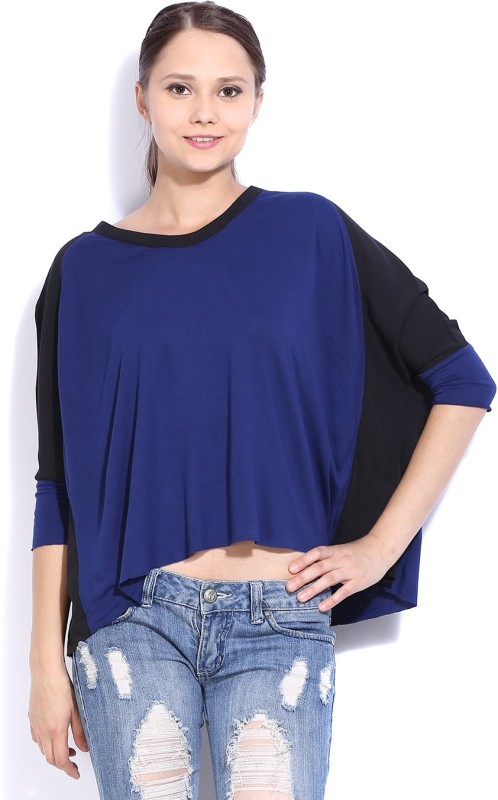 United Colors of Benetton Casual 3/4th Sleeve Solid Women's Blue, Black Top Price in India