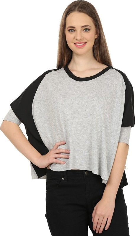 United Colors of Benetton Casual 3/4th Sleeve Solid Women's Grey, Black Top Price in India
