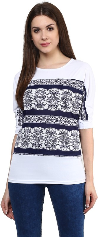 Mayra Party Short Sleeve Printed Women's White Top Price in India