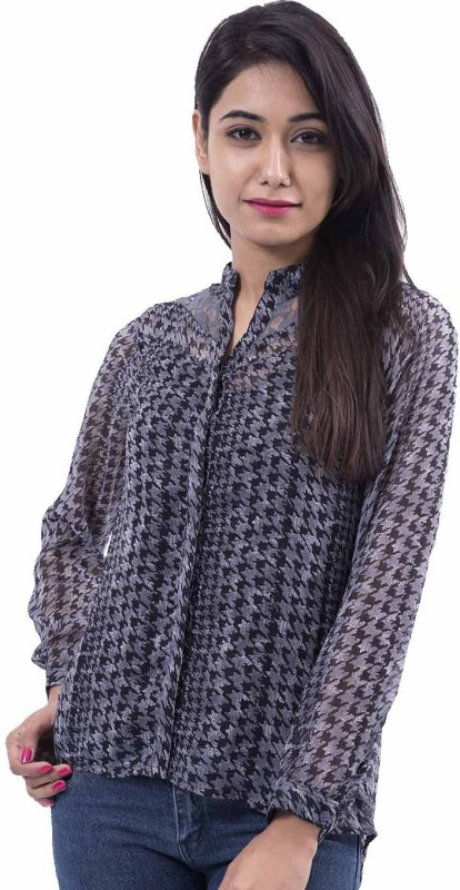 Amadore Casual Full Sleeve Printed Women's Black Top Price in India