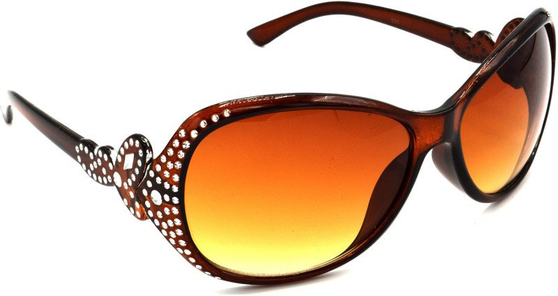 Hrinkar HRS325-BWN_1 Oval, Rectangular, Round Sunglasses(Brown) Price in India
