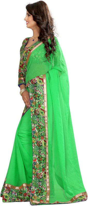 Livie Floral Print Fashion Georgette Saree(Green) Price in India