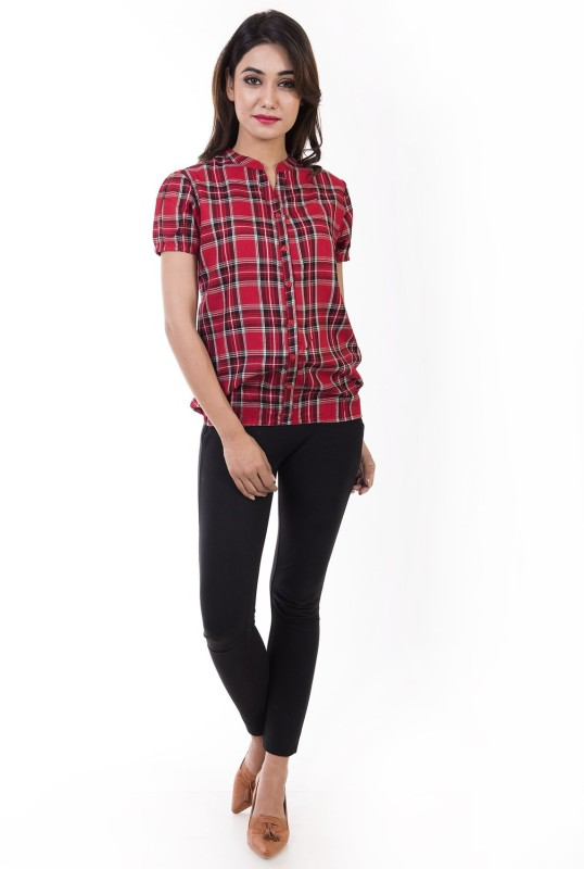 Amadore Casual Short Sleeve Checkered Women's Multicolor Top Price in India