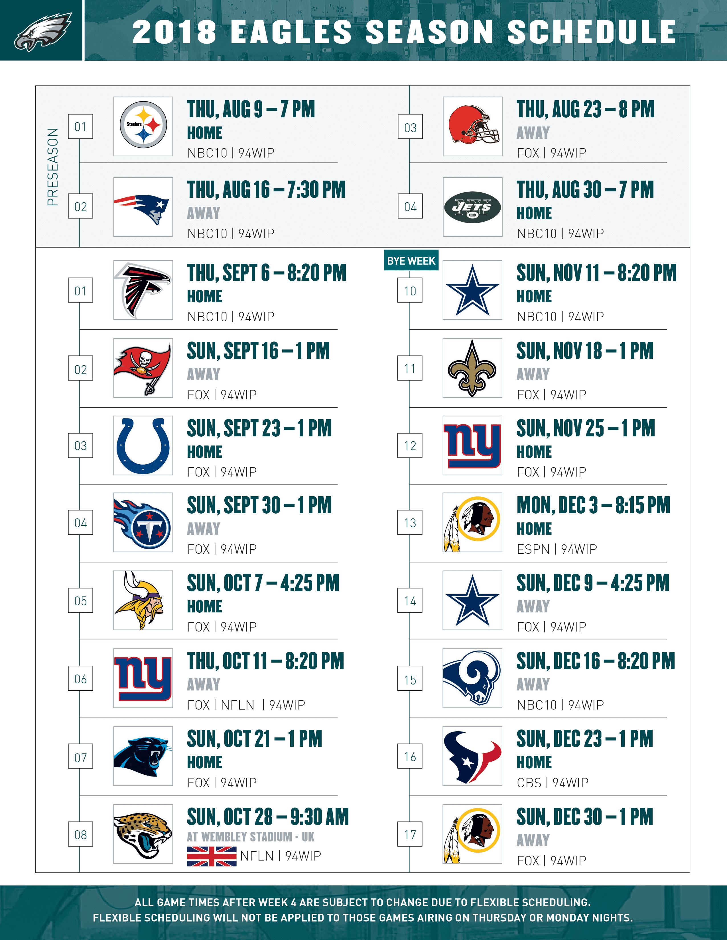 philadelphia eagles schedule