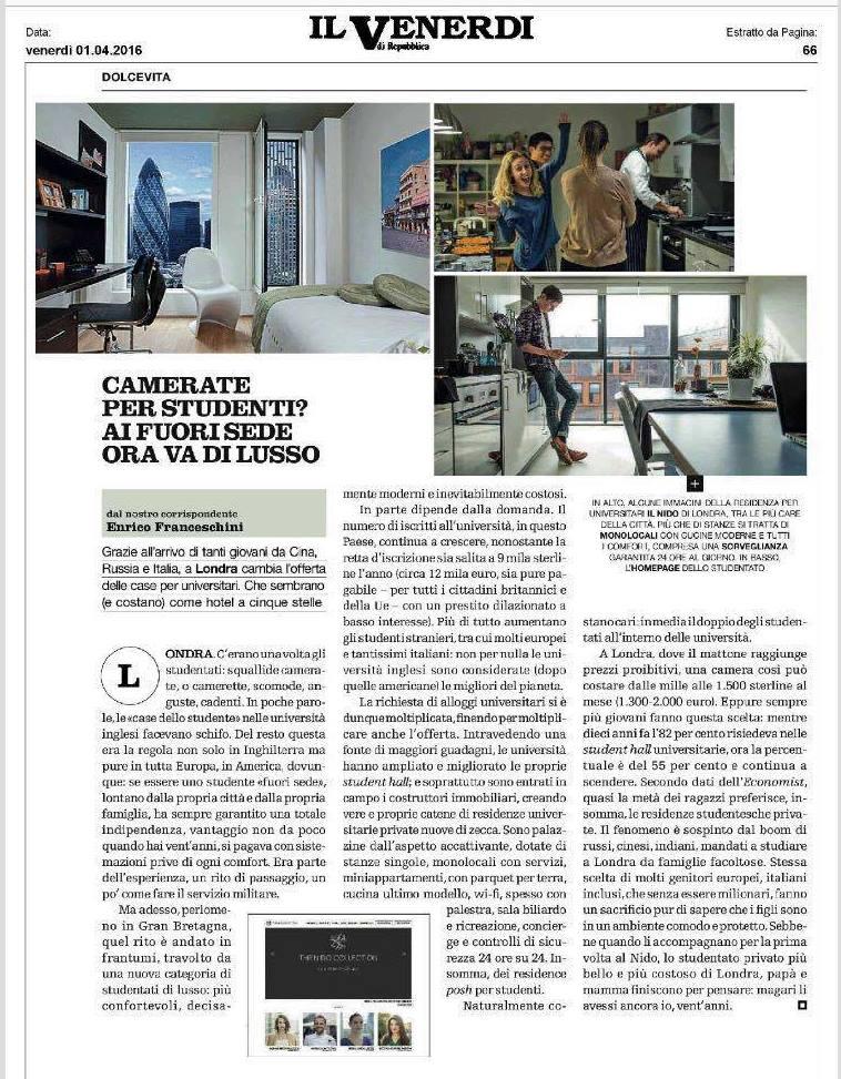 La Repubblica Italian article about luxury student accommodation