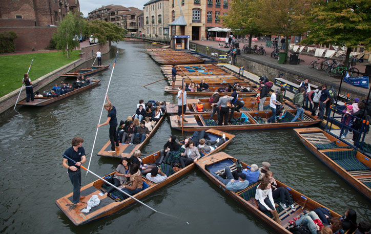 A selection of punts on the river in Cambridge