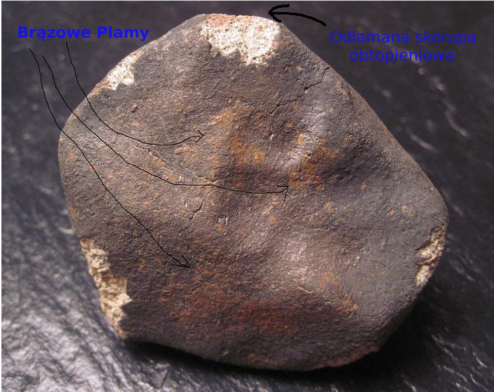 Meteoryt - skorupa obtopieniowa i rdzawe plamy