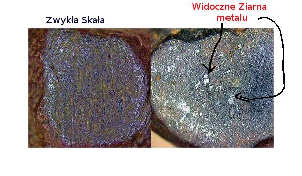 Rozpoznanie meteorytu - metalowe ziarna