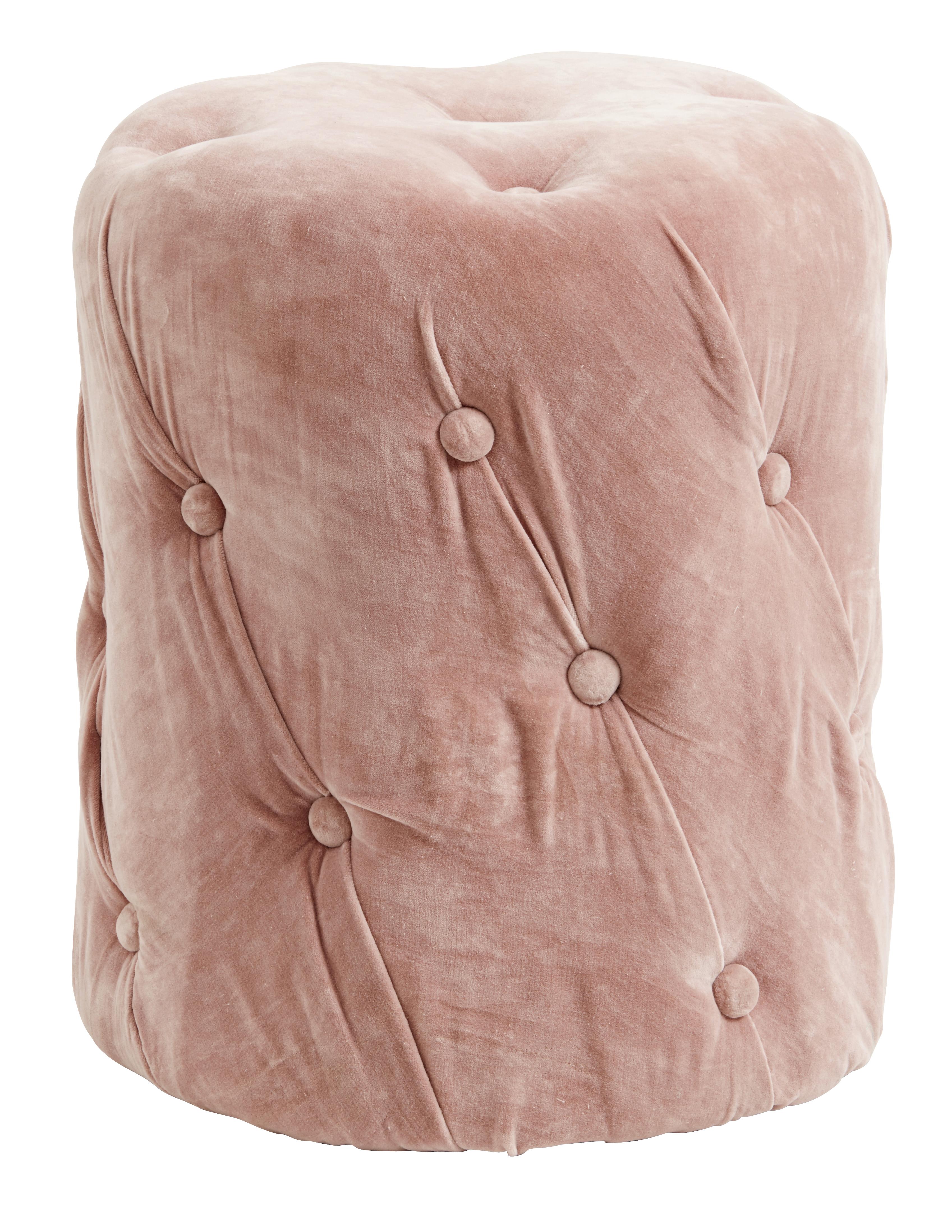Comprar Puff rosa cuero y textil nordico 46 x 46 nordal