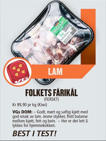 Faksimile av VGs fårikål-kåring 28. september 2016.