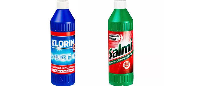 Klorin og Salmi er svært effektive rengjøringsmidler.