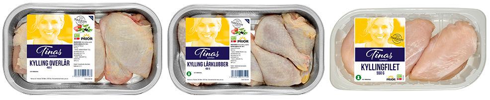 Kyllingprodukter fra Tinas sommer: Kylling overlår, kylling lårklubber, kyllingfilet
