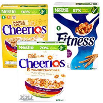 Nestlé frokostblandinger Havre Cheerios, Fitness og Cheerios Multigrain.