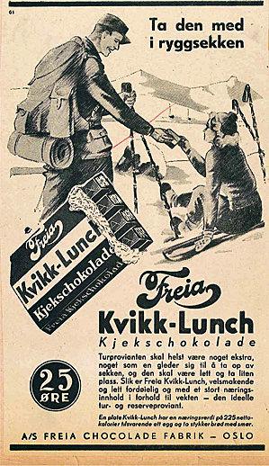 Kvikk Lunsj-reklame anno 1937.