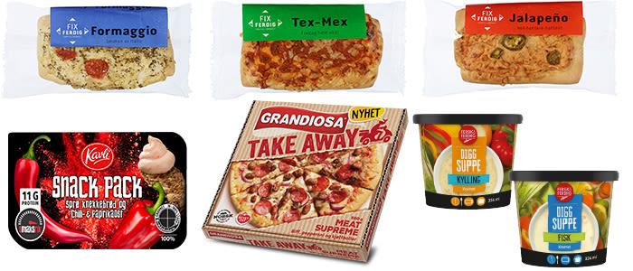 Nyheter: Tre varianter Fix ferdig småbakst, Kavli Snack pack, Grandiosa Take Away og Fersk & Ferdig Digg suppe med kylling og fisk.