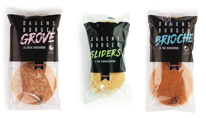 KIWI har flere typer pølsebrød fra Bakehuset. Dette er de som hører sammen med Dagens Burger-serien.