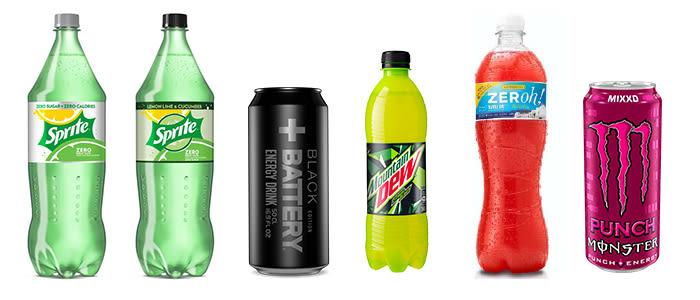 Nyheter: Sprite Zero i nytt design og med smak av agurk, Battery black, Mountain Dew med mindre sukker, Zeroh! med rabarbra-smak og Monster Punch med smak av tropisk juice.