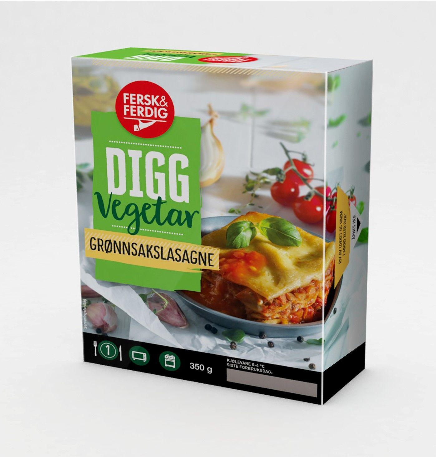 Digg Vegetar Grønnsakslasagne er et komplett måltid med myk, deilig pasta, tomat- og bechamelsaus og masse gode grønnsaker. Retten inneholder meieriprodukter.