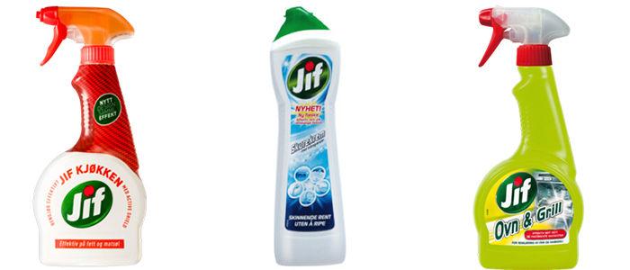 Spray til badet, spray til kjøkkenet eller skurekrem til begge steder?