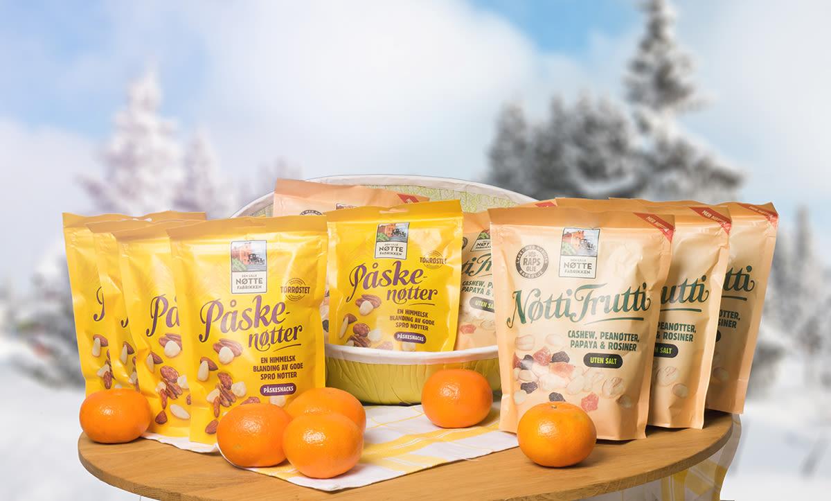 Premien i denne luken er en eske med nøtter fra Den lille nøttefabrikken - perfekt som snacks både før og etter påske.