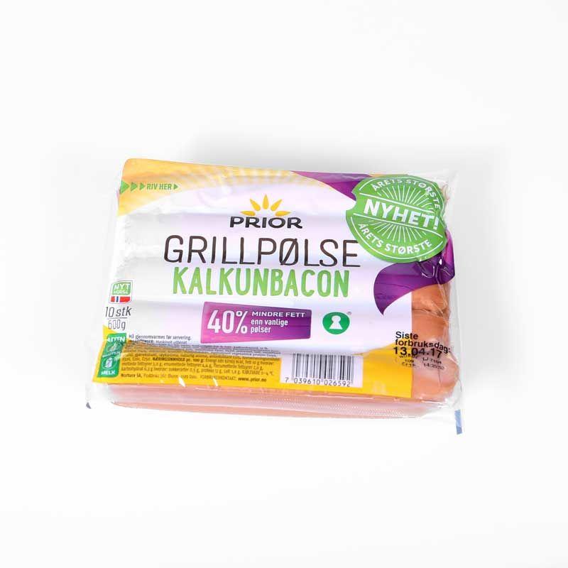 Årets nyhet Prior Grillpølse kalkunbacon har 40% mindre fett enn vanlige grillpølser.