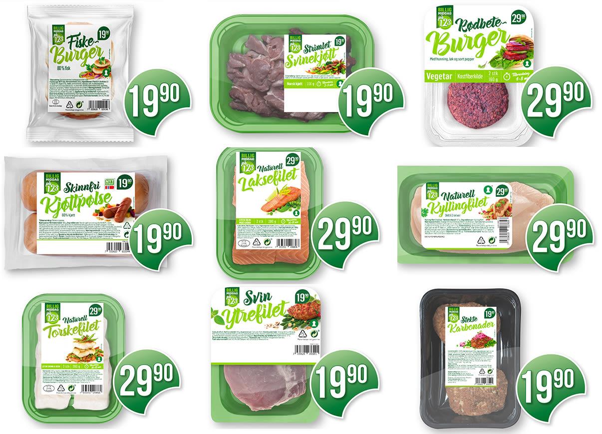 UTVALG: Dette er produktene i «Middag for én»-serien hos KIWI