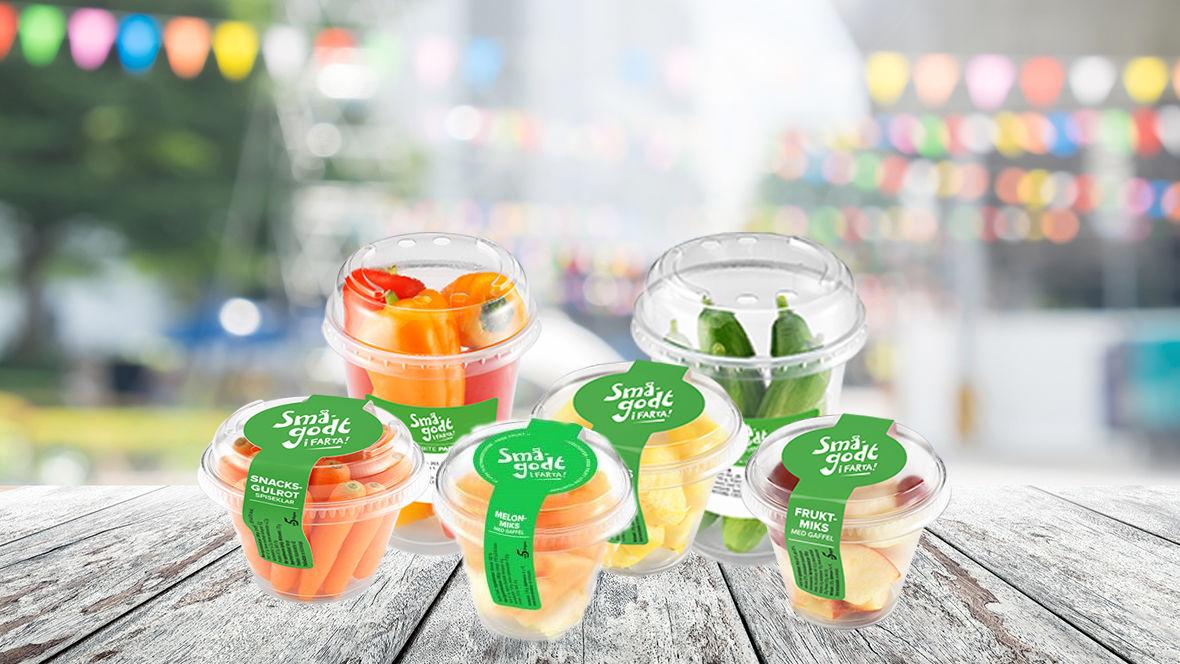 Sommerens utvalg av Sunt smågodt i farta: fruktmiks, melonmiks, ananas, gulrot, paprika og agurk